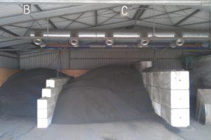 dried sludge in storage