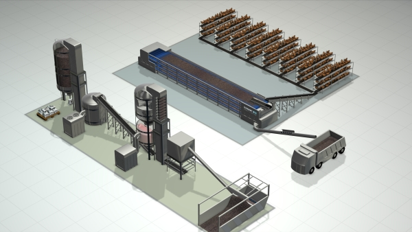 render image of drying and pelleting plant