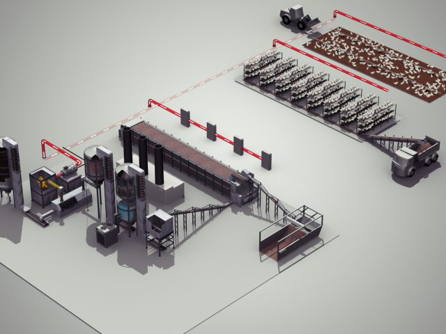render of total solution using pyrolysis processing manure